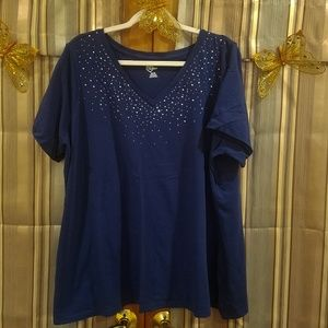 Short Sleeve Top with crystal accents